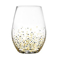 Fitz & Floyd Confetti 4 pc Stemless Wine Glass Set
