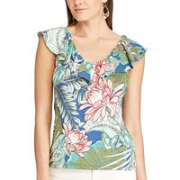 Women's Chaps Printed Ruffled Top