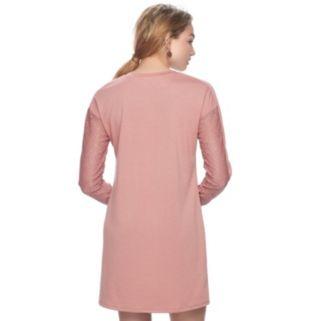 Juniors' Love, Fire Lace Yoke Sweatshirt Dress