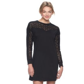 Juniors' Love, Fire Lace Yoke Sweatshirt Dress