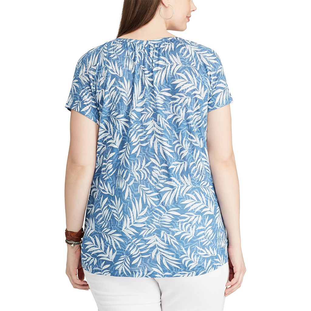 Plus Size Chaps Printed Lace-Up Top