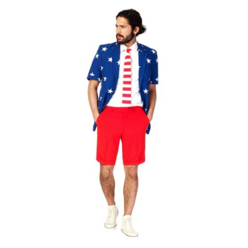 Men's OppoSuits Slim-Fit Stars & Stripes Suit & Tie Set