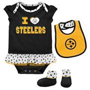 Baby Pittsburgh Steelers Team Love Bodysuit Set