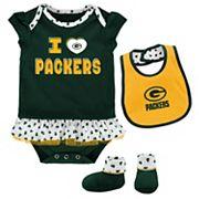 Baby Green Bay Packers Team Love Bodysuit Set