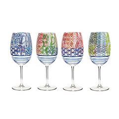 Fitz & Floyd 4 pc Wine Goblet Set