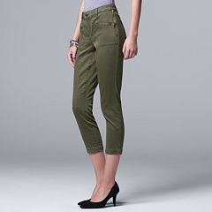 Petite Simply Vera Vera Wang Crop Zipper Accent Pants