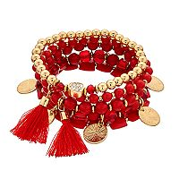 Red Beaded & Tasseled Stretch Bracelet Set