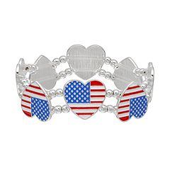 American Flag Heart Stretch Bracelet