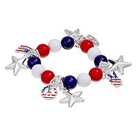 Beaded American Flag, Peace Sign & Star Charm Stretch Bracelet