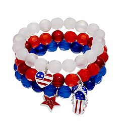 American Flag Heart, Star & Flip-Flop Charm Beaded Bracelet Set