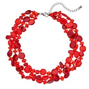 Red Composite Shell Multi Strand Necklace