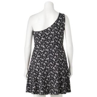 Juniors' Plus Size SO® Textured One-Shoulder Dress