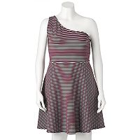 Juniors' Plus Size SO® Striped One-Shoulder Dress
