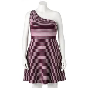 Juniors' Plus Size SO® Striped One-Shoulder Dress