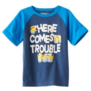 """Toddler Boy Despicable Me Minions """"Here Comes Trouble"""" Raglan Tee"""
