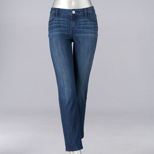 Petite Simply Vera Vera Wang Straight-Leg Jeans
