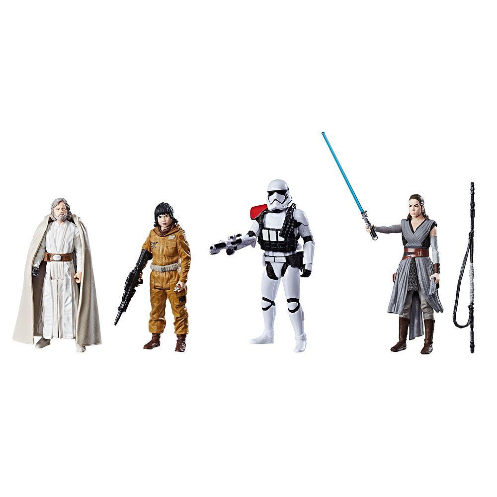 Star Wars: Episode VIII The Last Jedi  4-pk. Luke Skywalker (Jedi Master), Rey (Jedi Training), First Order Stormtrooper Officer & Resistance Tech Rose Figure Set by Hasbro