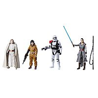 Star Wars: Episode VIII The Last Jedi 4 pkLuke Skywalker (Jedi Master), Rey (Jedi Training), First Order Stormtrooper Officer & Resistance Tech Rose Figure Set by Hasbro