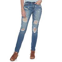 Juniors' Mudd® Splatter Ripped Skinny Jeans