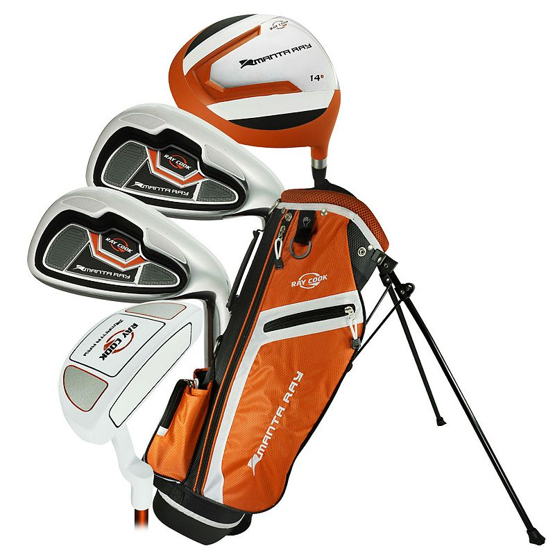 Ray Cook Manta Ray 3-5 Junior 5-Piece Left Hand Golf Clubs & Stand Bag Set, Orange