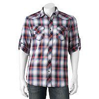 Big & Tall Rock & Republic Classic-Fit Plaid Stretch Roll-Tab Button-Down Shirt