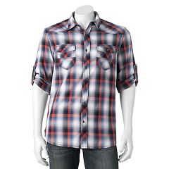 Big & Tall Rock & Republic Classic-Fit Plaid Stretch Roll-Tab Button-Down Shirt