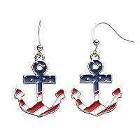 American Flag Anchor Drop Earrings