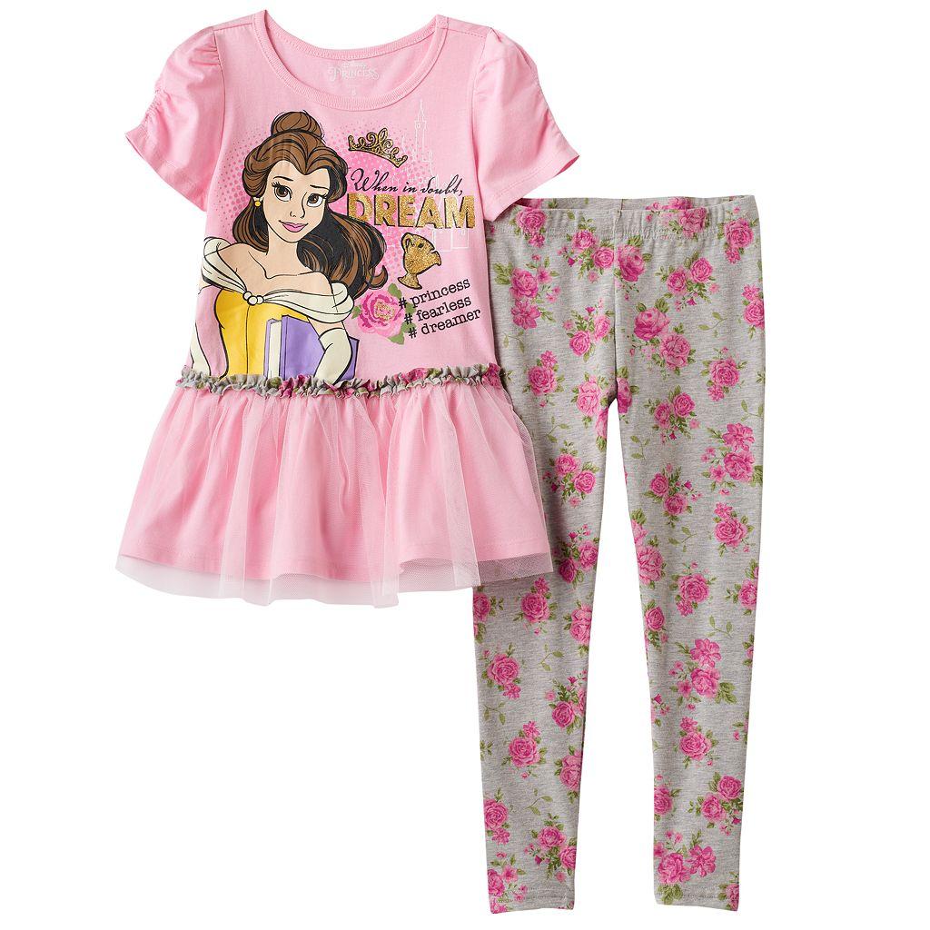 Disney's Beauty & the Beast Girls 4-6x Belle & Chip Top & Floral Leggings Set