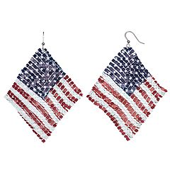 American Flag Nickel Free Kite Drop Earrings