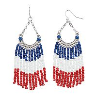 Red, White & Blue Seed Bead Nickel Free Fringe Earrings