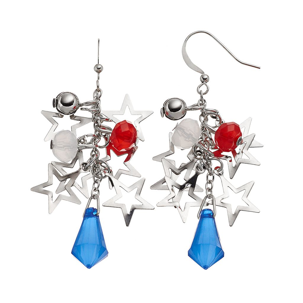 Red, White & Blue Beaded Star Cluster Drop Earrings