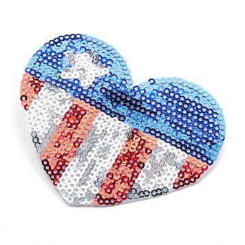 Stars & Stripes Sequined Heart Hair Clip