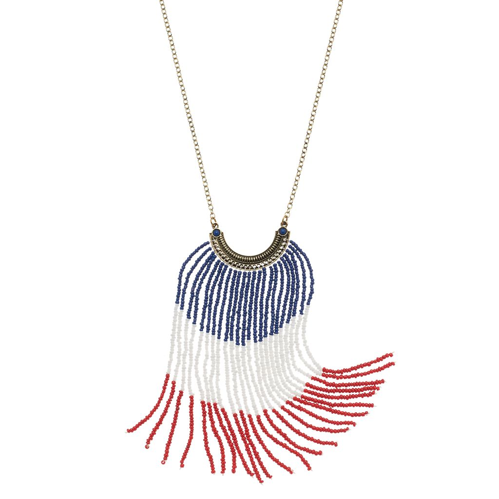 Red, White & Blue Long Seed Bead Fringe Necklace
