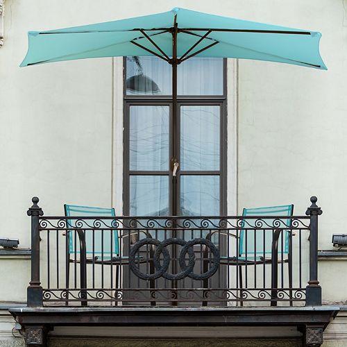 Navarro 9-ft. Half-Round Outdoor Patio Umbrella