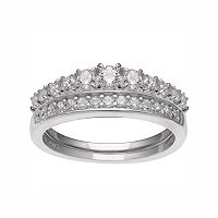 PRIMROSE Sterling Silver Cubic Zirconia Engagement Ring Set