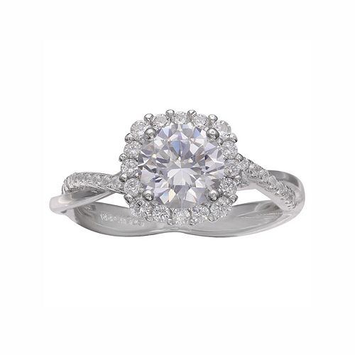PRIMROSE Sterling Silver Cubic Zirconia Halo Engagement Ring