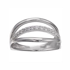 PRIMROSE Sterling Silver Cubic Zirconia Openwork Ring
