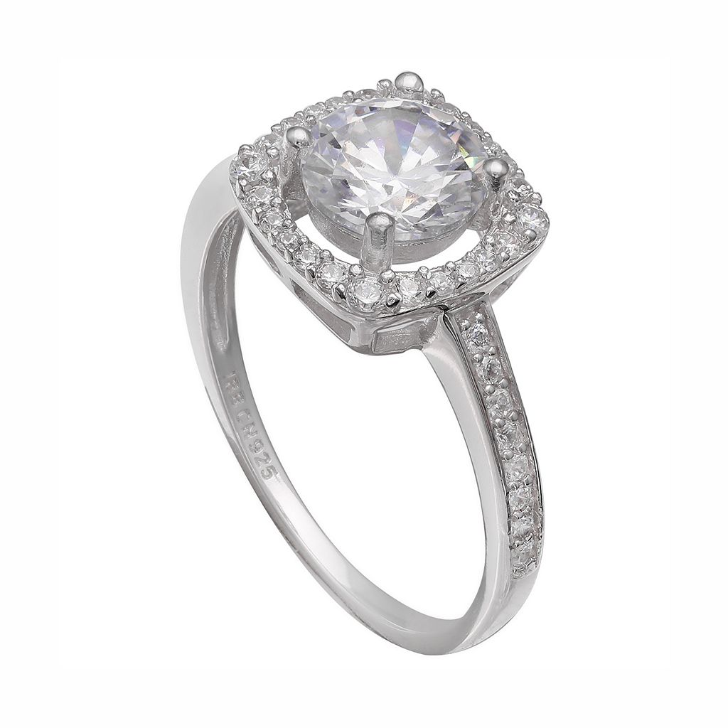 PRIMROSE Sterling Silver Cubic Zirconia Square Halo Engagement Ring
