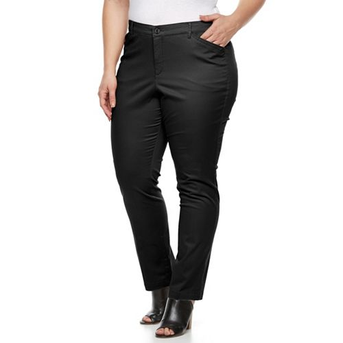 Plus Size Gloria Vanderbilt Anita Twill Straight-Leg Pants