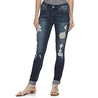 Juniors' Indigo Rein Cuffed Ripped Ankle Jeans