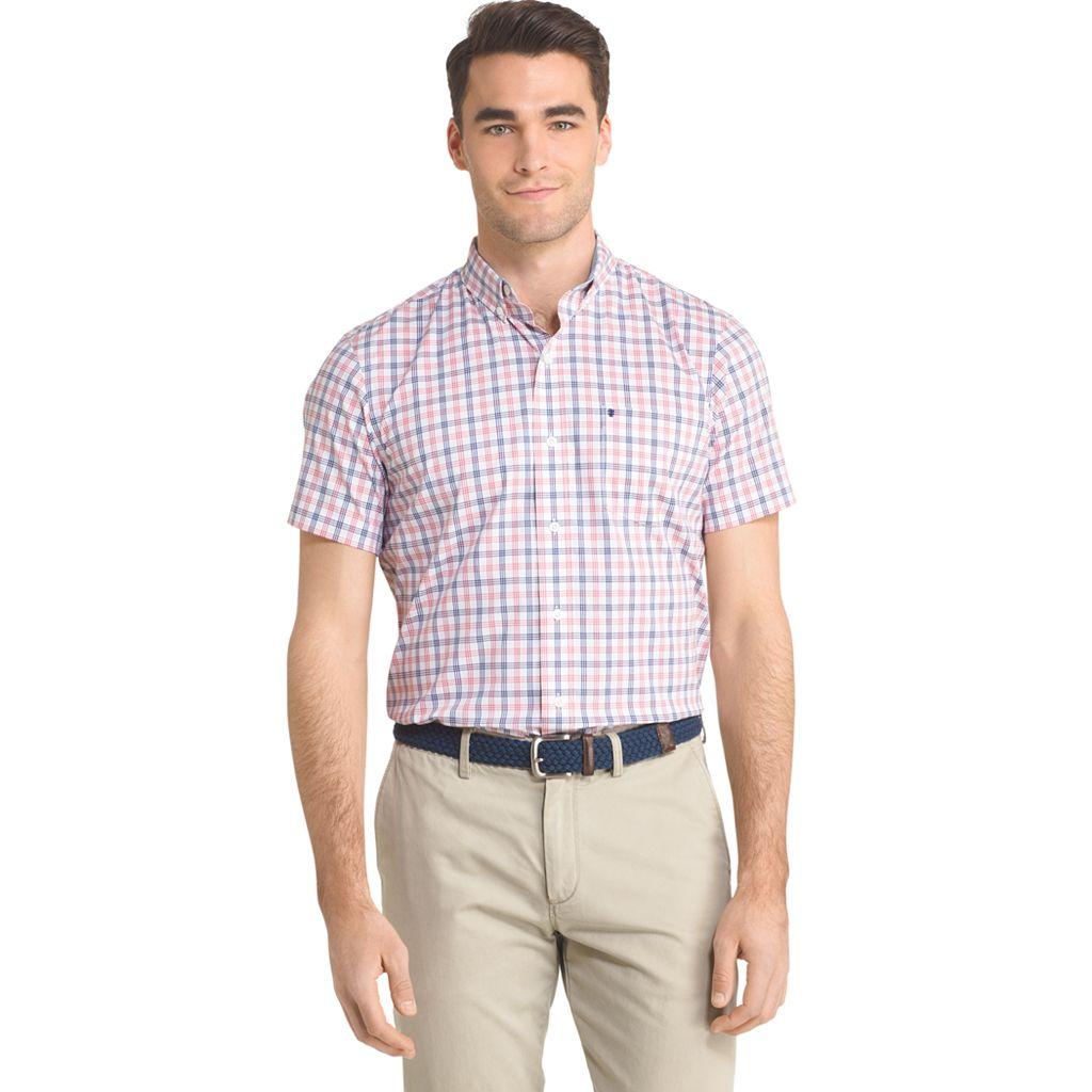 Men's IZOD Advantage Classic-Fit Plaid Stretch Performance Button-Down Shirt