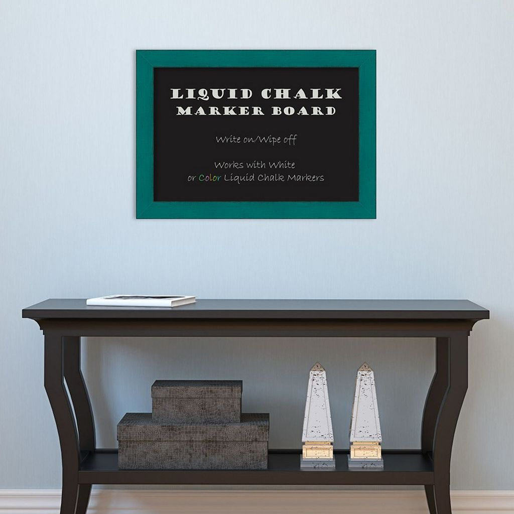Amanti Art French Teal Rustic Framed Liquid Chalkboard Wall Decor