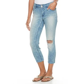 Petite Apt. 9® Distressed Straight-Leg Crop Jeans