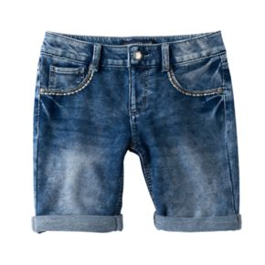 Girls 7-16 Vanilla Star Bling Pocket Bermuda Jean Shorts