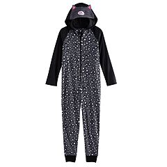 Girls 4-14 SO® 3D Embroidered Hood Fleece One-Piece Pajamas