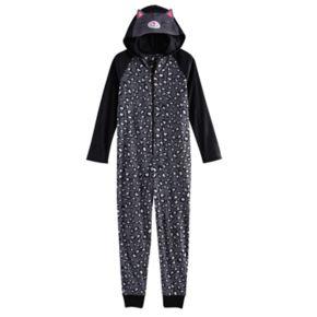 Girls 4-14 SO® 3D Embroidered Hood Fleece One-Piece Pajamas