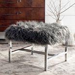 Safavieh Horace Faux Sheepskin Chrome Finish Bench