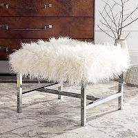 Safavieh Horace Faux Sheepskin Chrome Finish Bench