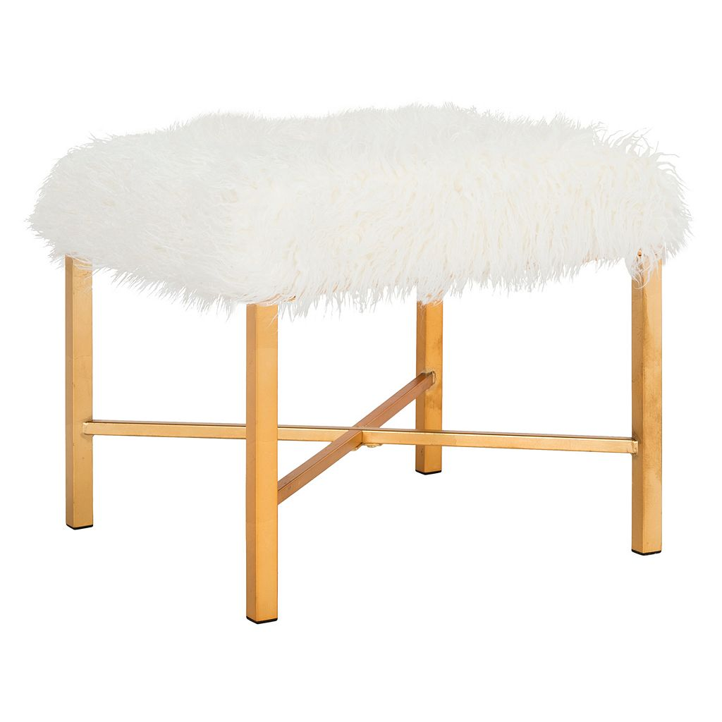 Safavieh Horace Faux Sheepskin Gold Finish Bench
