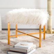 Safavieh Horace Faux Sheepskin Gold Finish Bench